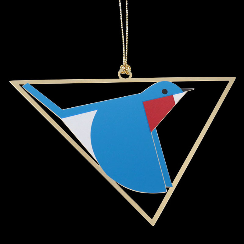 Charley Harper Brass Bluebird Ornament Adornment