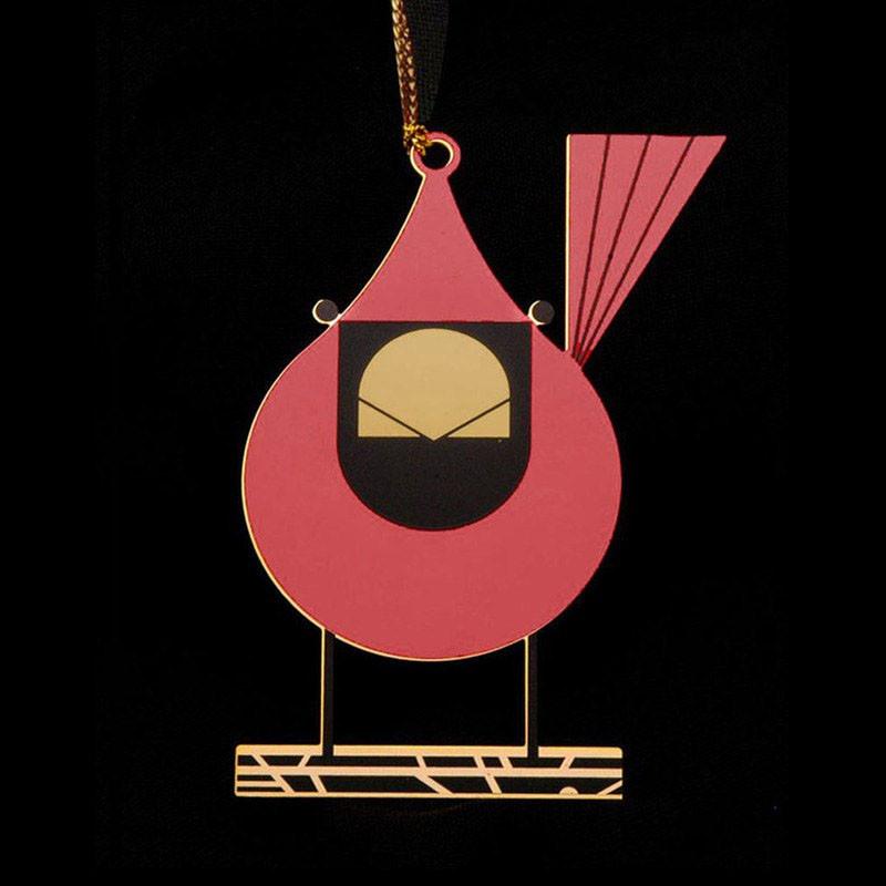 Charley Harper Brass Cardinal Close Up Ornament Adornment