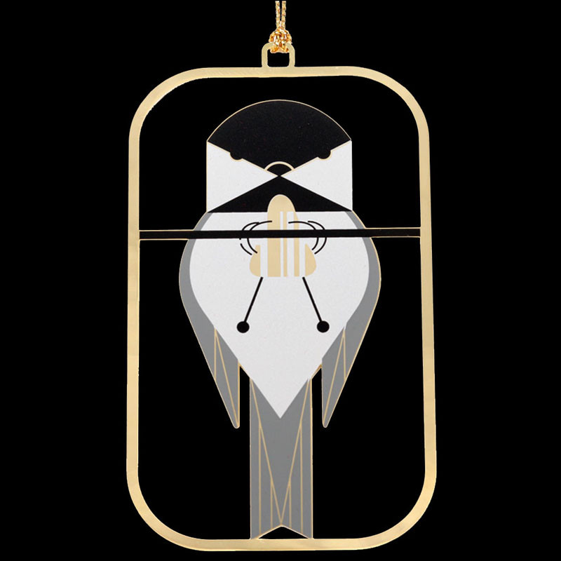 Charley Harper Brass Chickadee Calisthenics Ornament Adornment