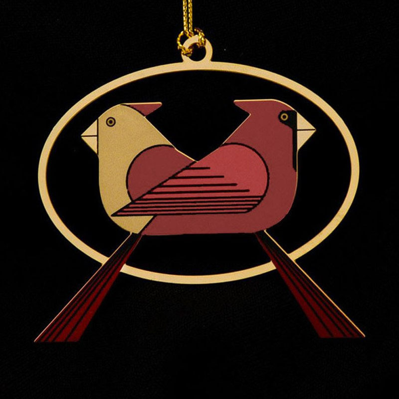 Charley Harper Brass Cardinals Consorting Ornament Adornment