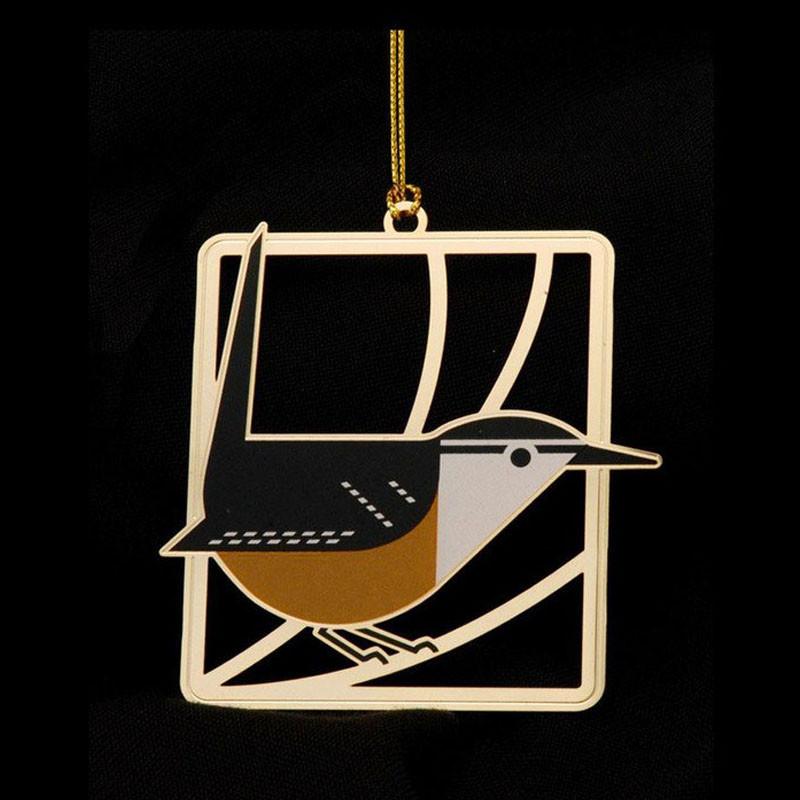Charley Harper Brass Carolina Wren Ornament