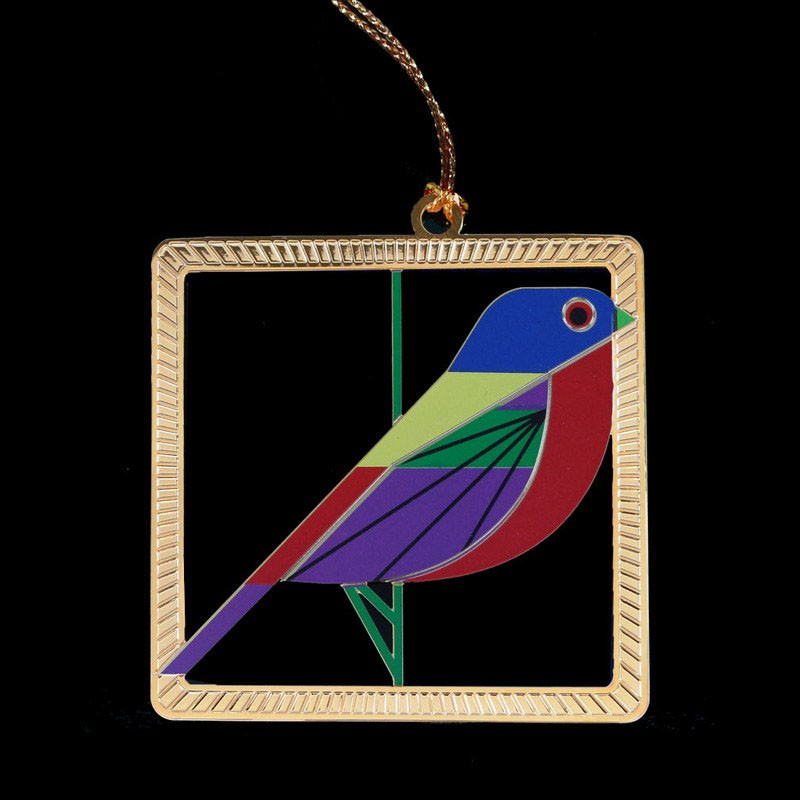 Charley Harper Brass Painted Bunting Ornament