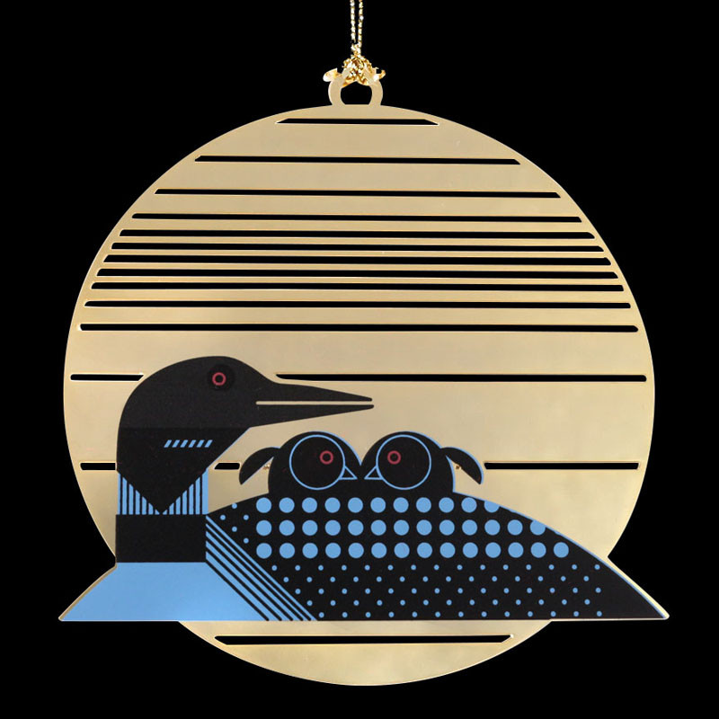 Charley Harper Brass Loonrise Ornament Adornment