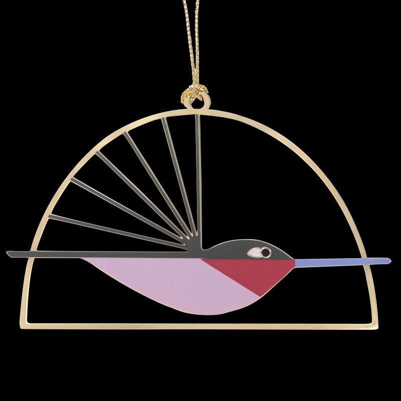 Charley Harper Brass Ruby-Throated Hummingbird Ornament Adornment