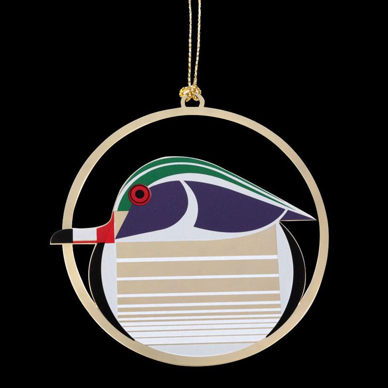 Charley Harper Brass Wood Duck Ornament Adornment