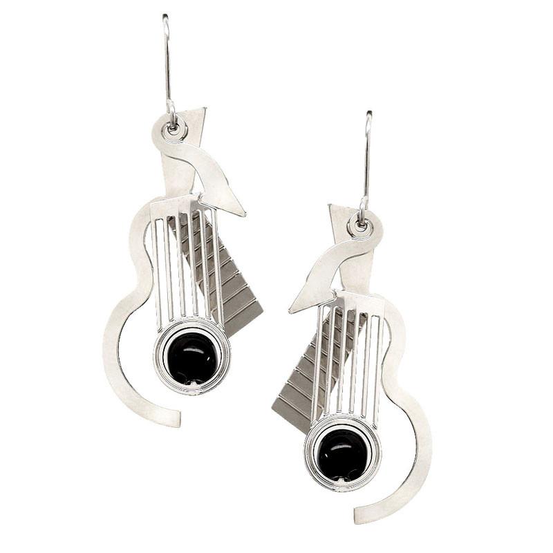 Cubist Guitar Black Glass Bead Earrings - Silver