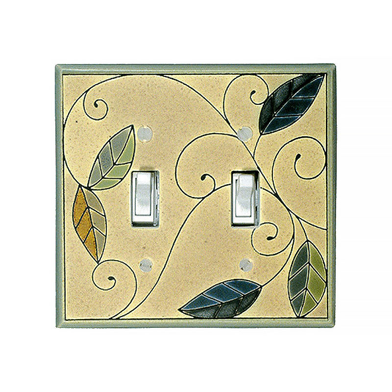 Art Nouveau Mosaic Leaves Ceramic Tile Switchplate