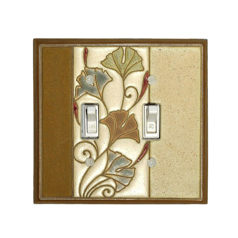Art Nouveau Ginkgo Ceramic Tile Switchplate - Double Toggle