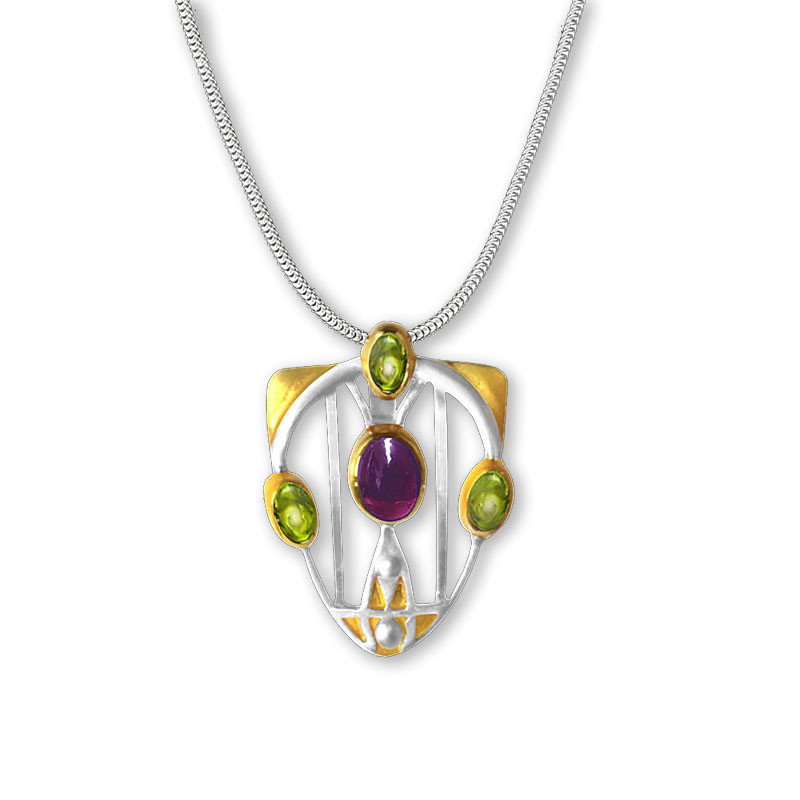Mackintosh Silver, Garnet, and Peridot Gesso Inspirations Pendant