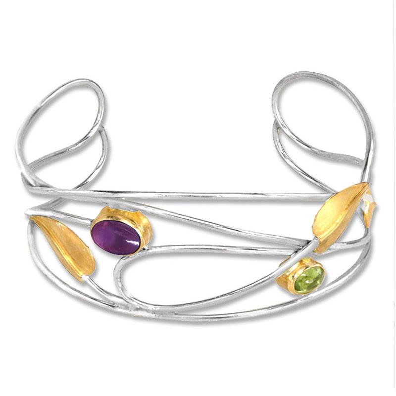 Mackintosh Silver, Iolite and Peridot Willowwood Cuff Bracelet