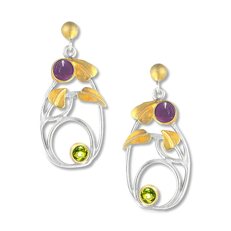 Mackintosh Willowwood Silver, Iolite and Peridot Earrings
