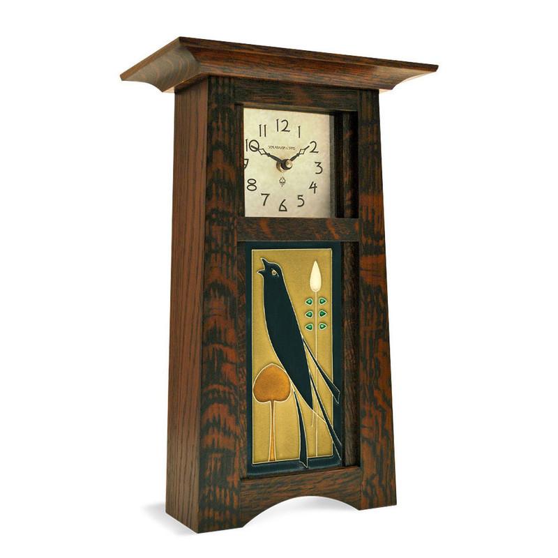 Arts and Crafts Songbird Jade Tile Mantel Clock