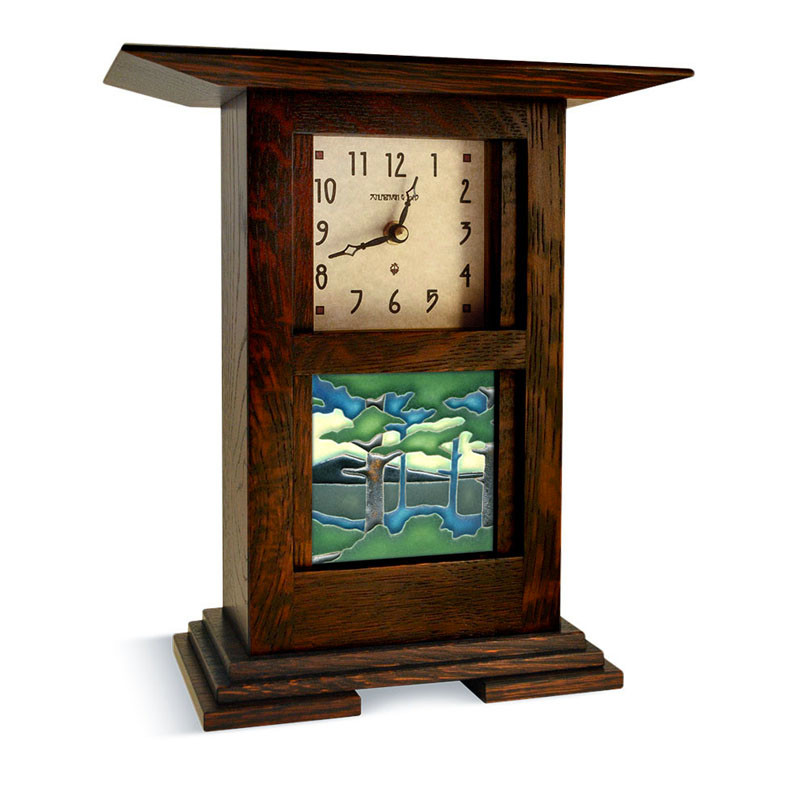 Arts & Crafts Pine Landscape Tile Clock