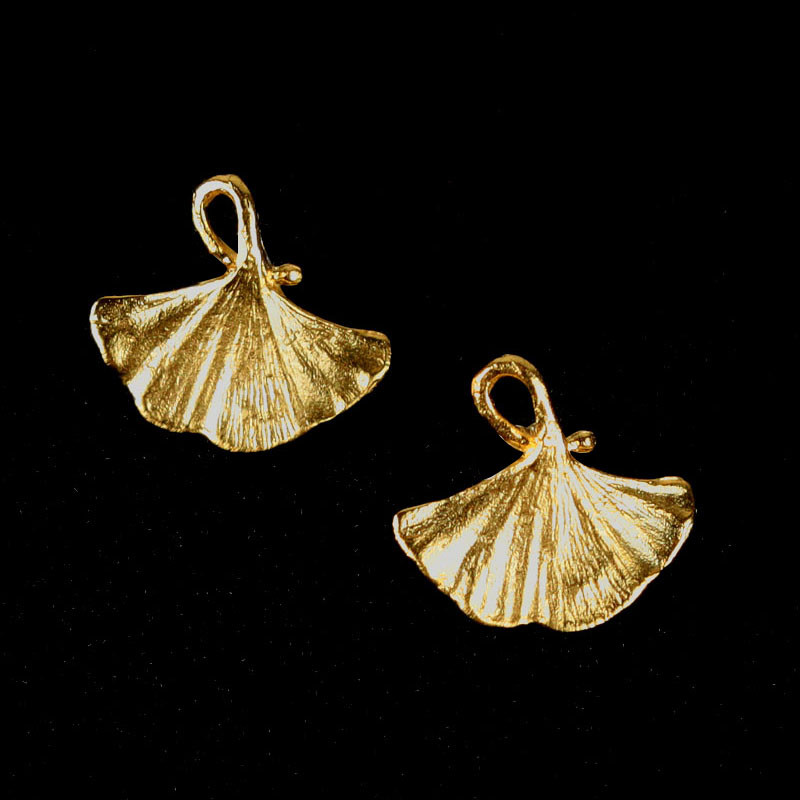 Single Ginkgo Leaf Post Earrings - Gold by Michael Michaud