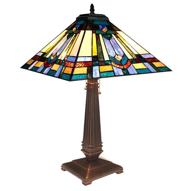Arts & Crafts Irwin Stained Glass Table Lamp