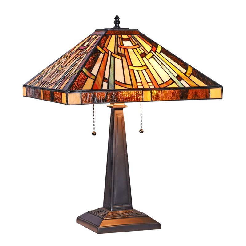 Arts & Crafts Falkner Stained Glass Table Lamp