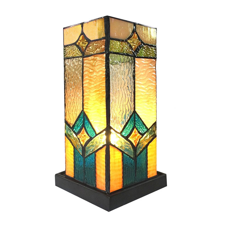 Arts & Crafts Prairie Stained Glass Accent Lamp