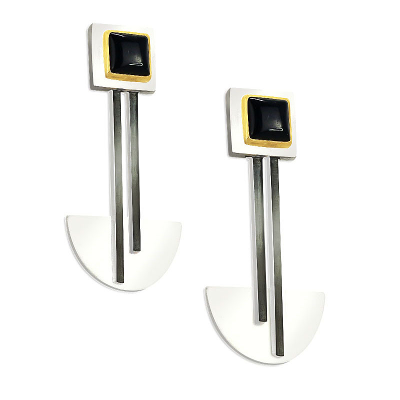 Bauhaus Silver and Black Onyx Earrings
