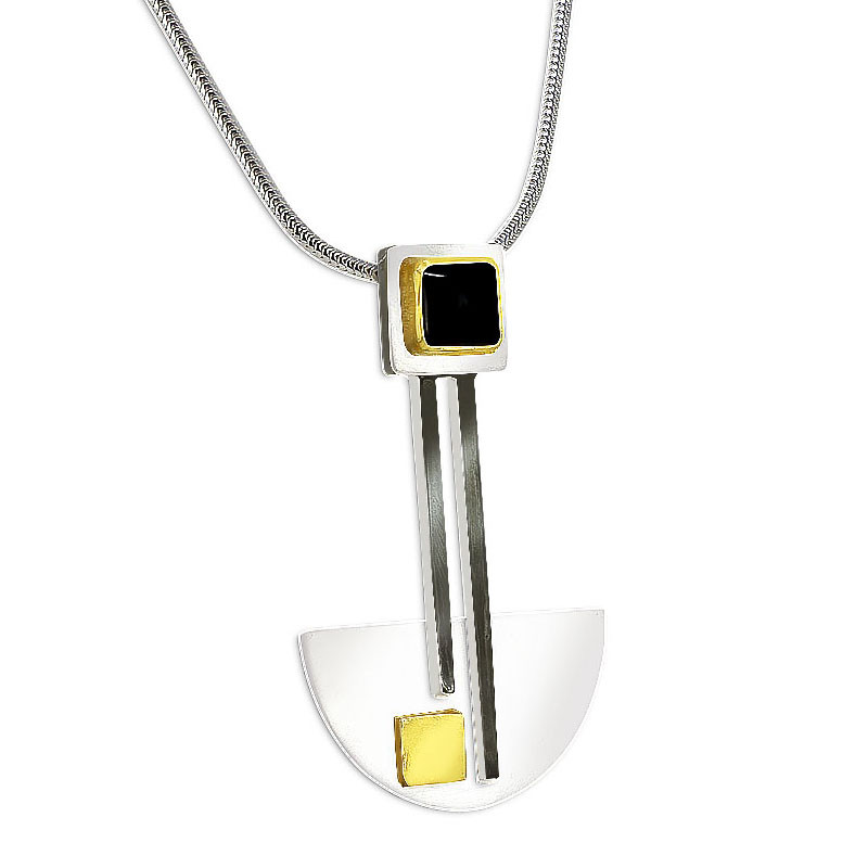 Bauhaus Silver and Black Onyx Pendant Necklace