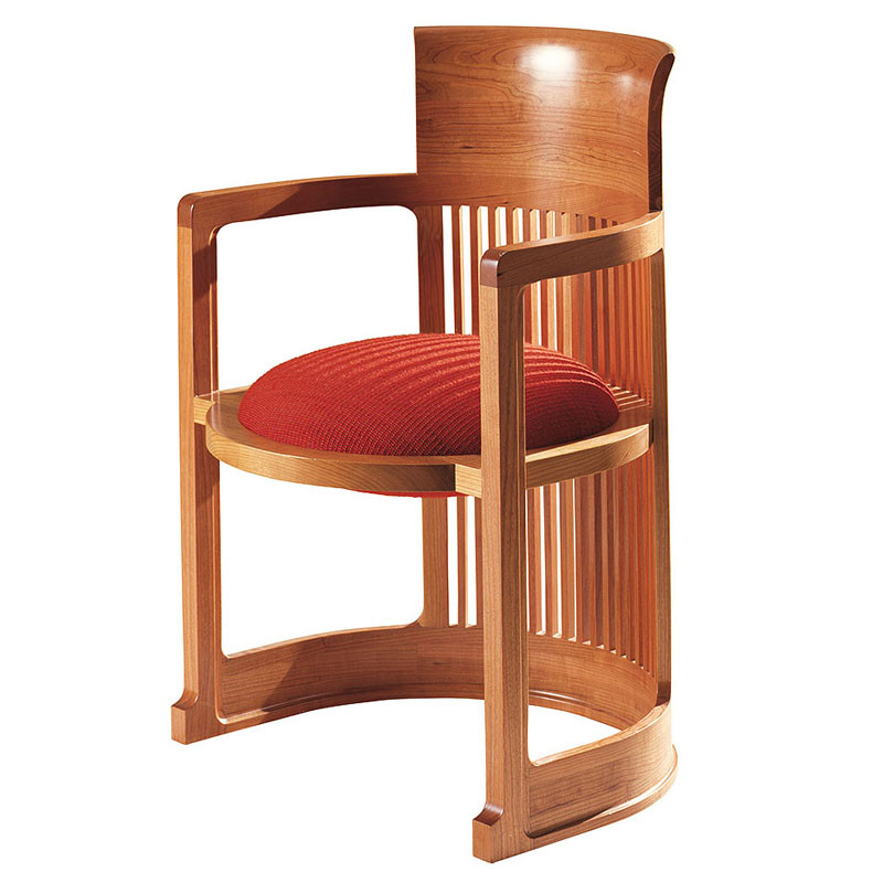 Frank Lloyd Wright Barrel Taliesin Chair Large-  Red Leather Upholstery