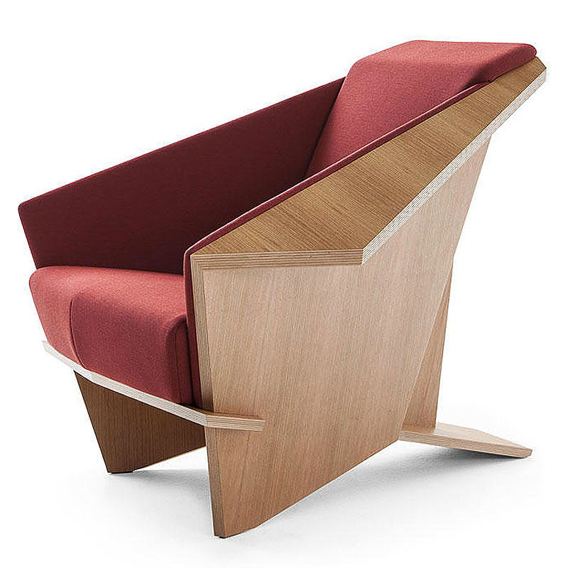 Frank Lloyd Wright Origami Chair - Wool Red Fabric Upholstery