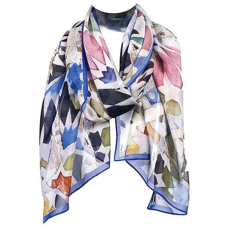 Antoni Gaudi Mosaic Silk Chiffon Scarf