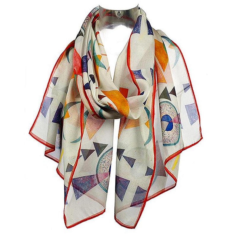 Wassily Kandinsky Weiches Hart Silk Chiffon Scarf
