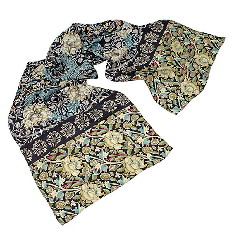 William Morris Mix Black Crepe de Chine Silk Scarf