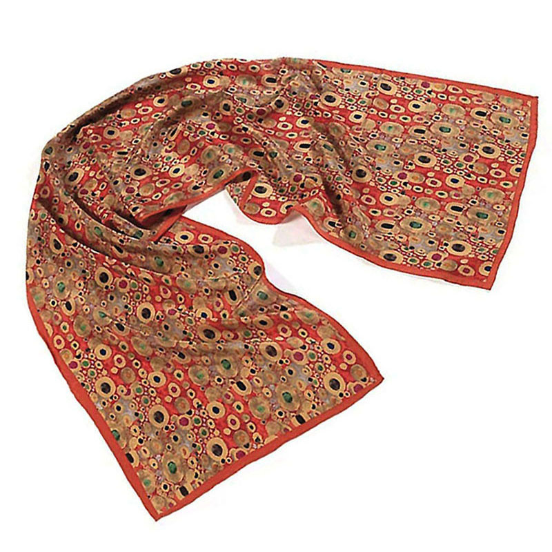 Gustav Klimt Hope II Crepe de Chine Silk Scarf - Red
