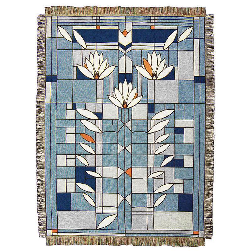 Frank Lloyd Wright Waterlilies Tapestry Throw Blue