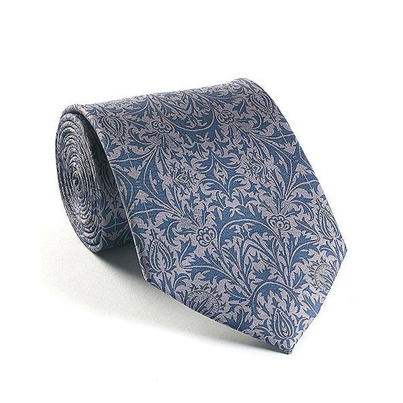 William Morris Thistle Blue Silk Tie