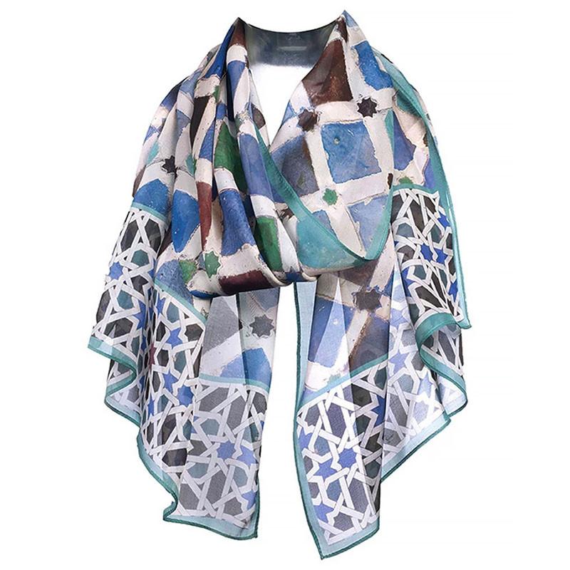 Alhambra Tiles Silk Chiffon Scarf