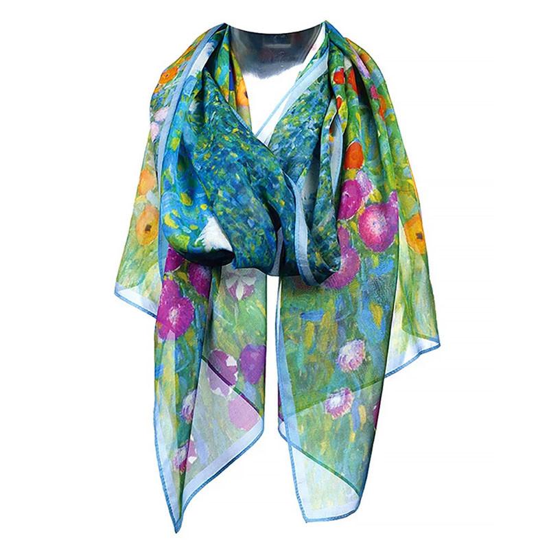 Klimt Flower Garden Silk Chiffon Scarf