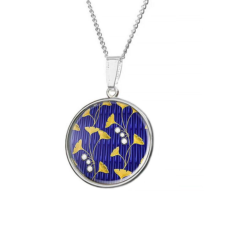 Ginkgo Leaf Fabergé Design Pendant Necklace