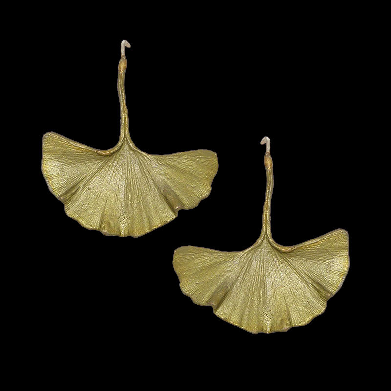 Single Ginkgo Leaf Patinated Bronze Large Earrings by Michael Michaud