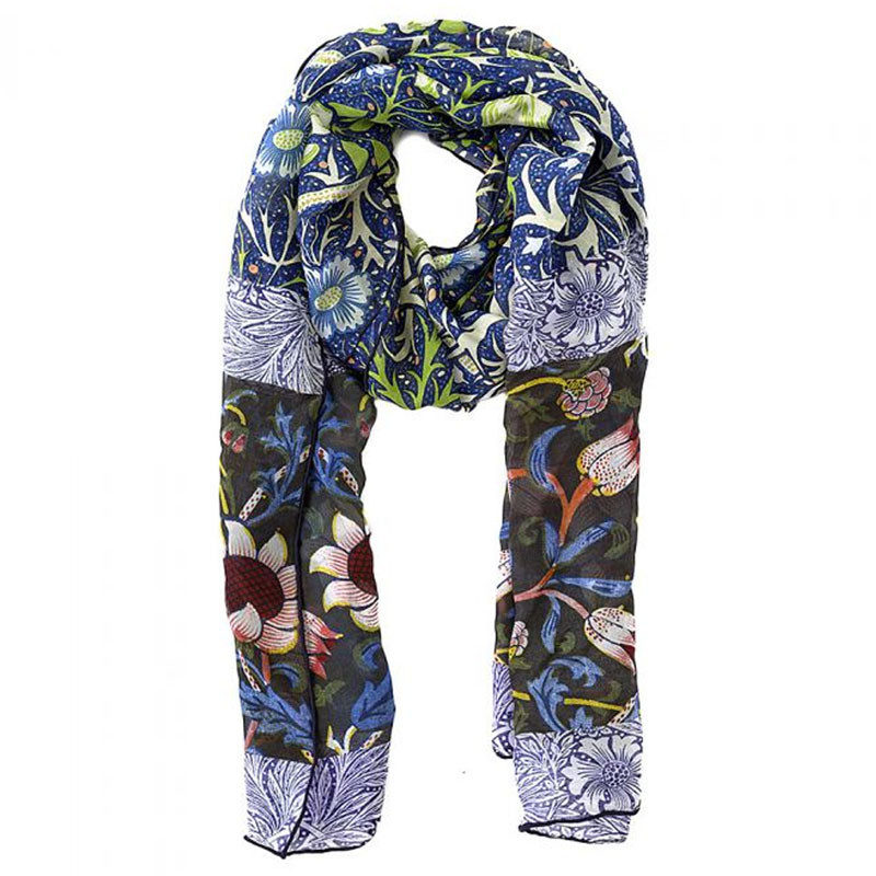 William Morris Seaweed Silk Chiffon Scarf