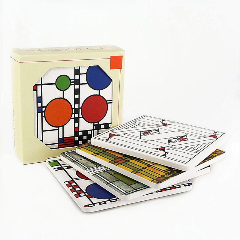 Frank Lloyd Wright Glass Designs Coasters Gift Set 1