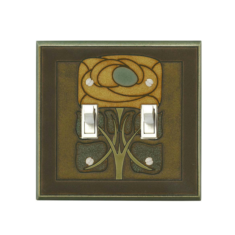 Art Nouveau Flower Ceramic Tile SwitchPlate