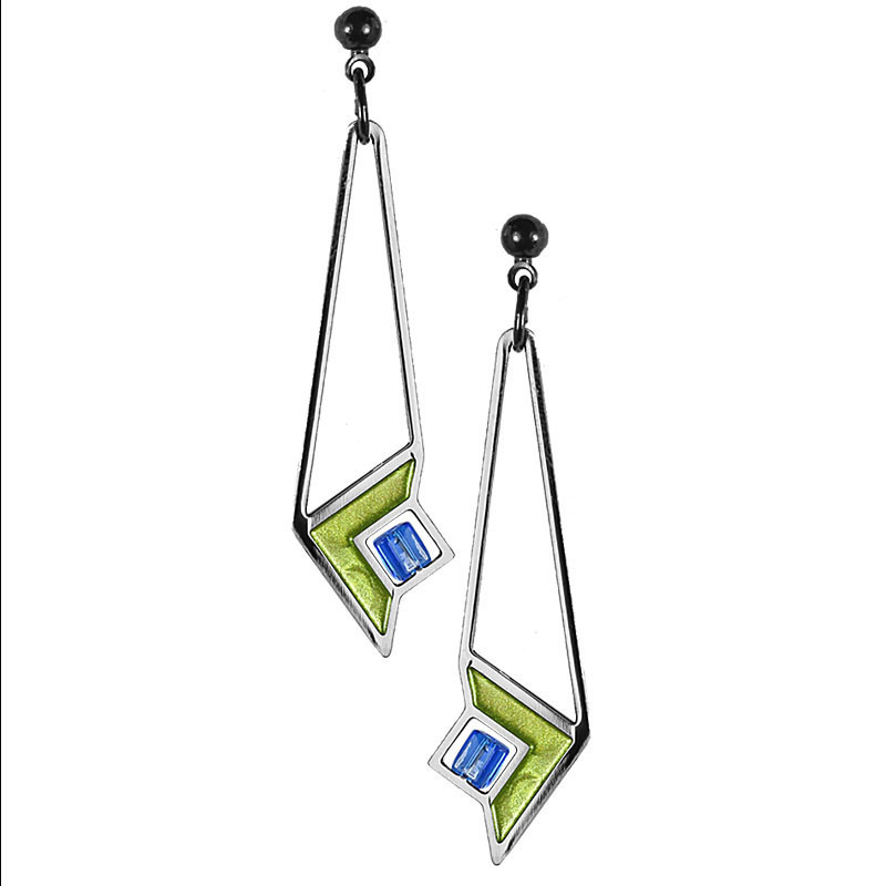 Frank Lloyd Wright Art Glass Green Enamel Earrings