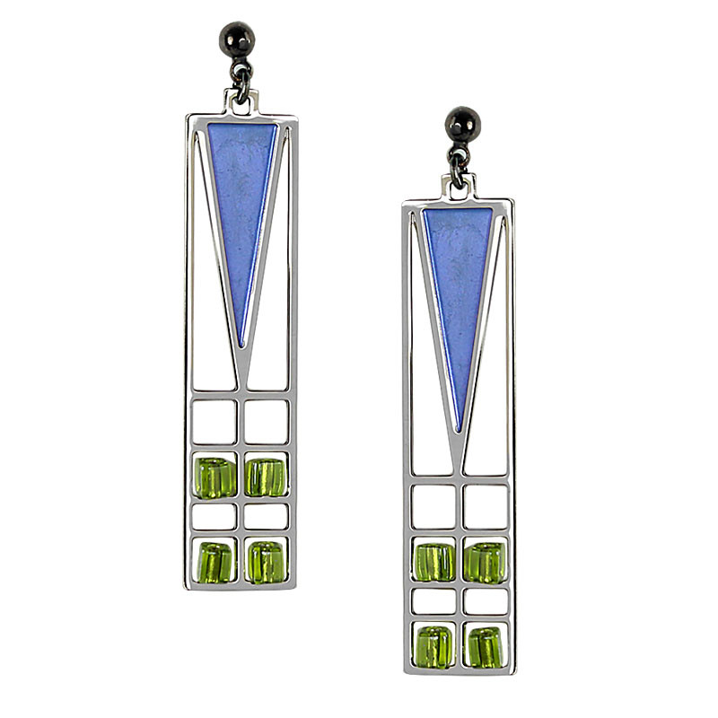 Frank Lloyd Wright Light Screen Blue Enamel Earrings