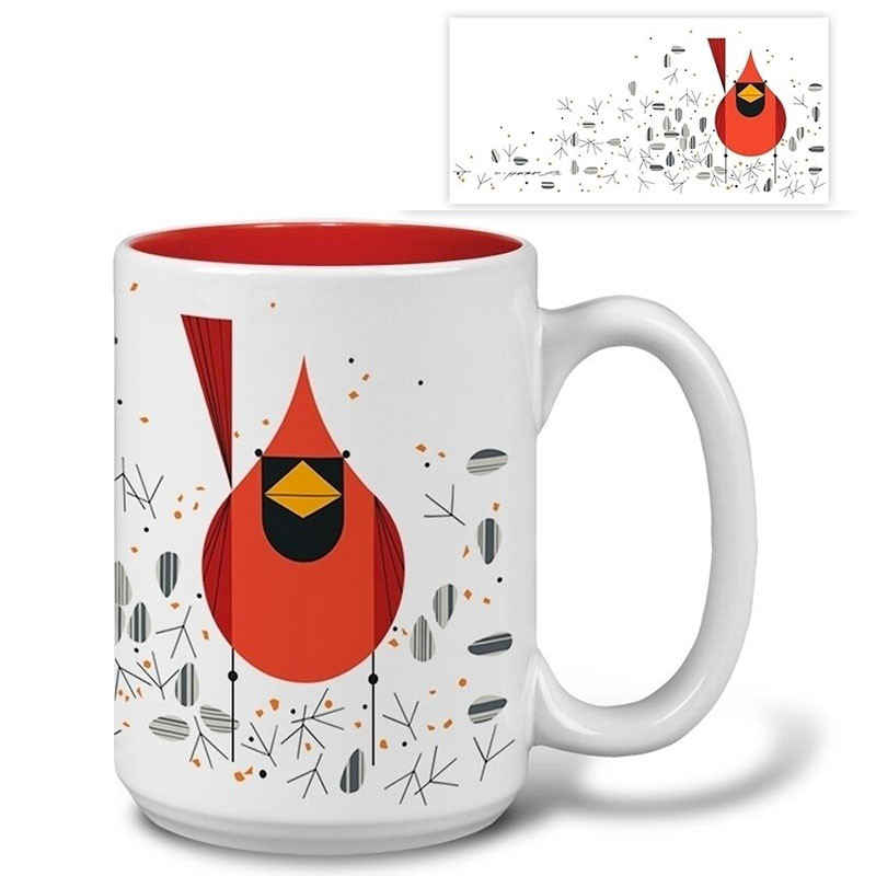 Charley Harper Cardinal and Seeds Mug