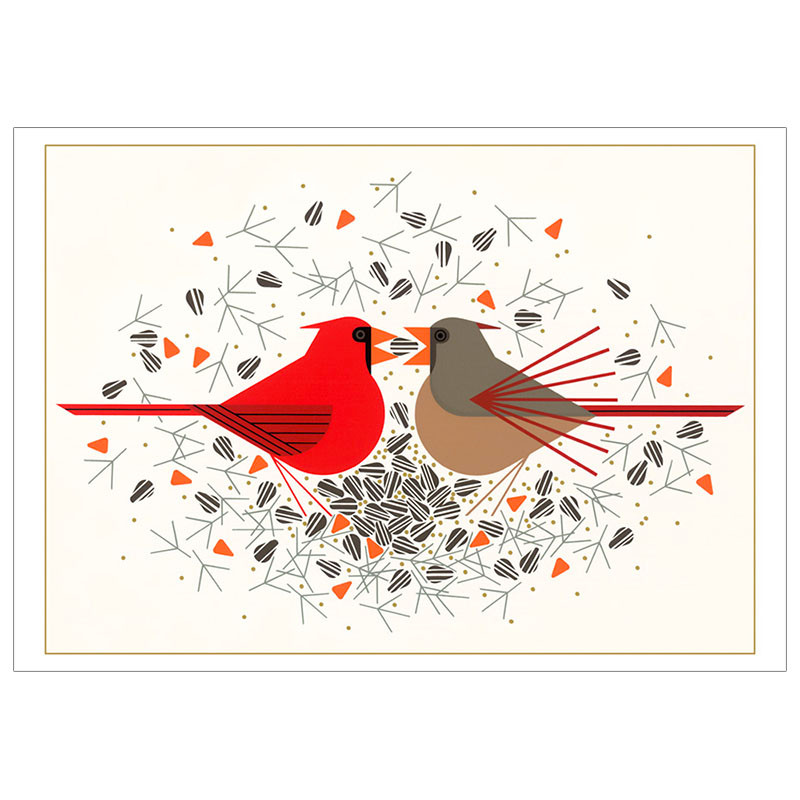 Charley Harper Cardinal Courtship Holiday Cards