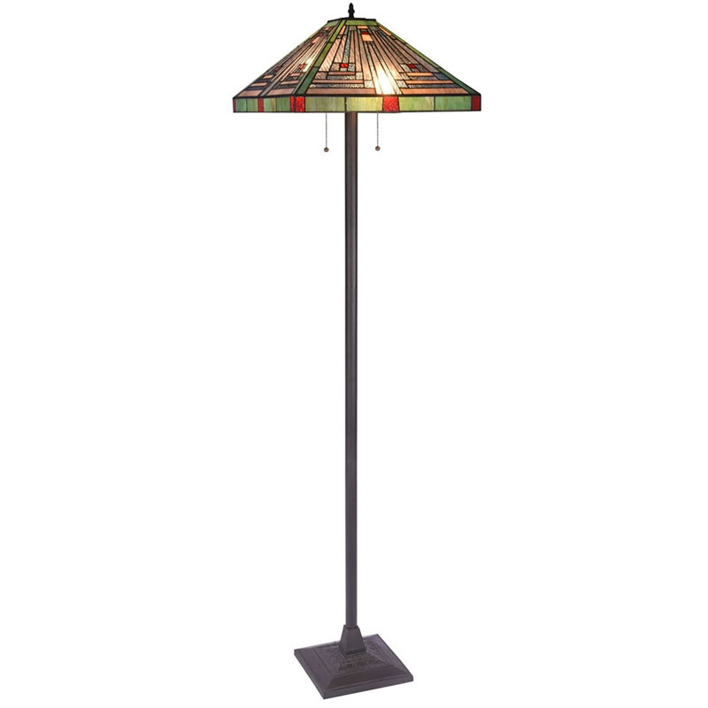 Arts & Crafts Innes 2 Stained Glass Floor Lamp