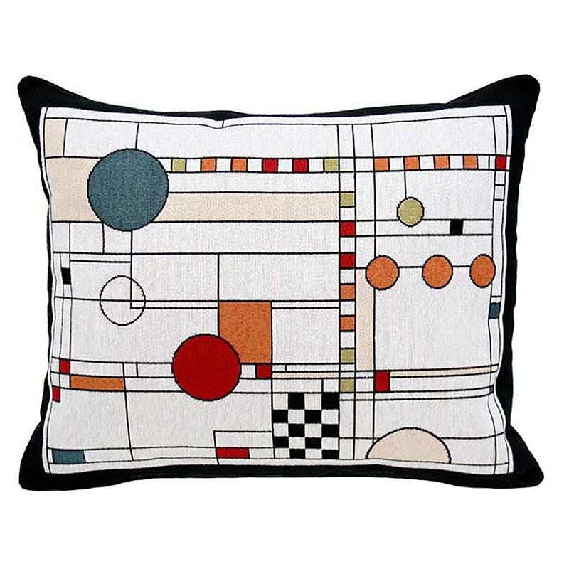 Art Glass Window Circle Study Tapestry Lumbar Pillow