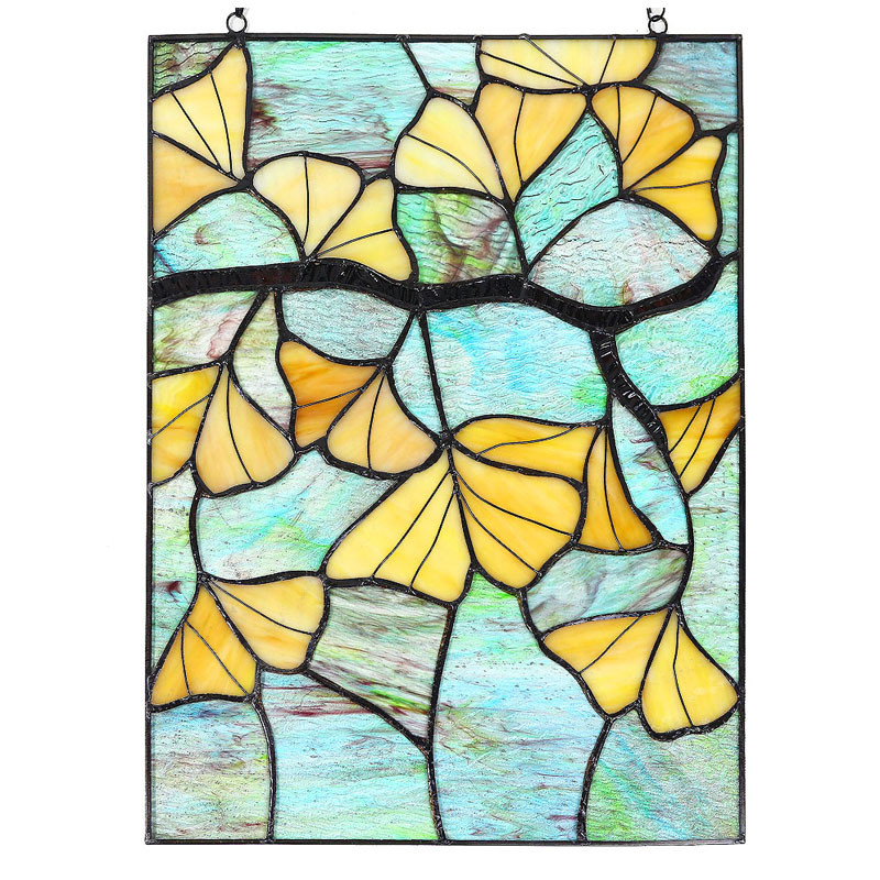 "Arts and Crafts Gingko Leaves Stained Glass Panel - 17.5"" x 13"""