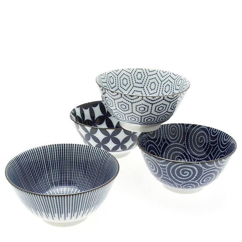 Japanese Kyo Modern Indigo Set of Four Bowls