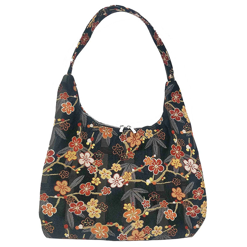 Ume Sakura Tapestry Hobo Shoulder Bag