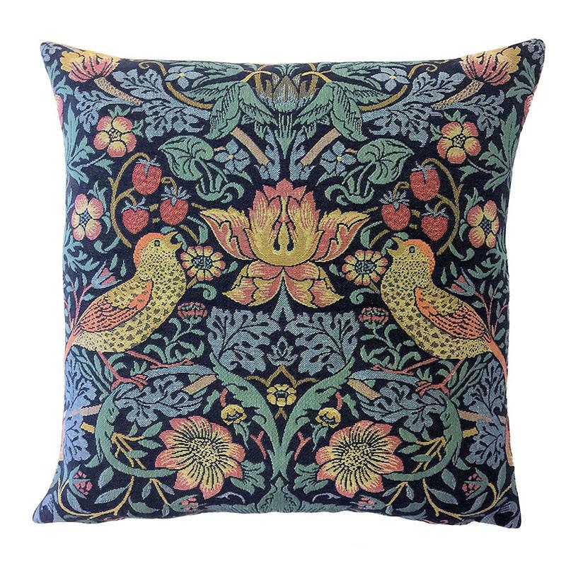 William Morris Strawberry Thief Belgian Tapestry Pillow - Facing In