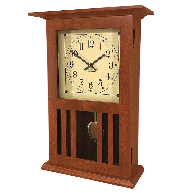 Amish Craftsman Mission Wall Clock - Cherry, front view