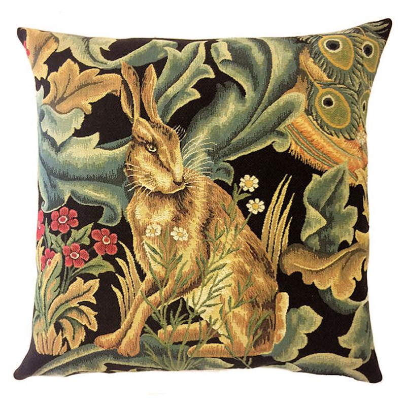 William Morris Black Forest Hare Belgian Tapestry Pillow